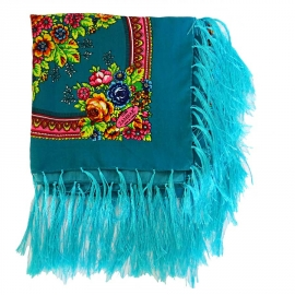 Foulard Gipsy bleu à franges